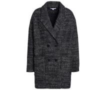 Double-breasted mélange wool-blend bouclé coat