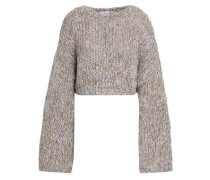 Cropped Metallic Marled Knitted Sweater Lilac