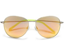 Aviator-style Acetate Mirrored  Sunglasses Silver Size --
