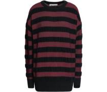Striped Merino Wool-blend Sweater Merlot