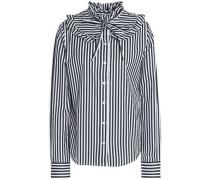 Pussy-bow ruffle-trimmed striped cotton-poplin shirt