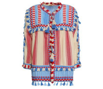 Marcus Embroidered Striped Cotton-gauze Jacket Light Blue