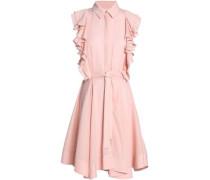 Ruffled silk-satin crepe mini shirtdress