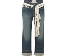 Rope-trimmed Cropped Boyfriend Jeans Mid Denim