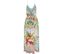 Sundowners Embellished Printed Silk Wrap Maxi Dress Multicolor