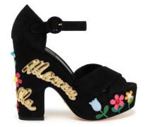 Mamma Bella appliquéd suede platform sandals