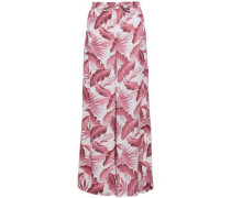 Printed Woven Wide-leg Pants Antique Rose