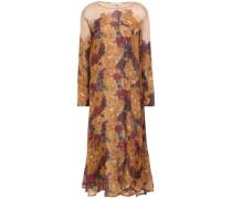 Woman Odile Floral-print Silk Crepe De Chine Midi Dress Camel