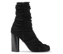 Ruched Ribbed-knit Ankle Boots Black