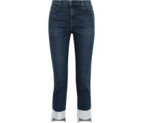Ruby Cropped Metallic High-rise Slim-leg Jeans Mid Denim  4