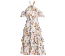 Cold-shoulder Bow-embellished Floral-print Cotton Midi Dress Light Gray Size 12