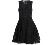 Flared embroidered cotton-blend organza mini dress