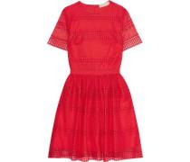 Paneled crocheted lace mini dress