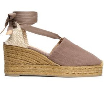 Woven and canvas wedge espadrilles
