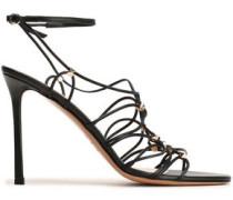 Woman Rockstud Lace-up Leather Sandals Black