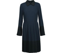 Two-tone pleated crepe de chine dress