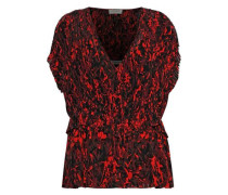 Orca Pleated Printed Chiffon Top Red