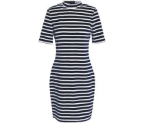 Woman Striped Chenille Mini Dress Navy