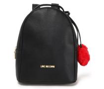 Pompom-embellished Faux Leather Backpack Black Size --