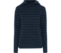 Striped Knitted Hooded Sweater Storm Blue