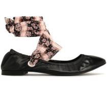 Floral-print leather ballet flats