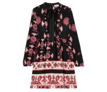 Woman Pussy-bow Printed Silk Mini Dress Black