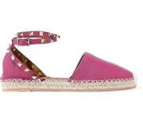 Rockstud Double Pebbled-leather Espadrilles Magenta