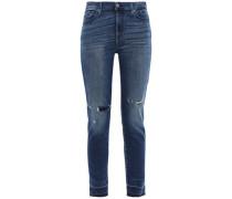 Bleached High-rise Skinny Jeans Dark Denim  8