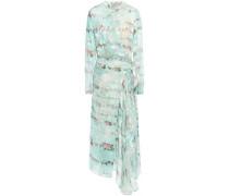 Devoré Silk Midi Wrap Dress Mint