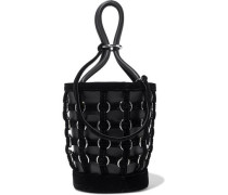 Roxy Ring-embellished Velvet-trimmed Leather Bucket Bag Black Size --