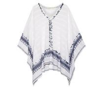 Embellished cotton-gauze poncho