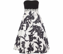 Strapless embellished printed satin gown