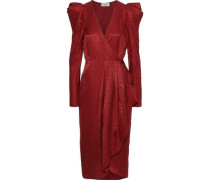 Carolina Silk-jacquard Midi Wrap Dress Red Size 12