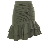 Ruched Cotton-blend Mini Skirt Army Green