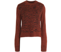 Zebra-print jacquard-knit sweater