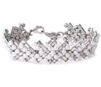 Silver-tone, Crystal And Faux Pearl Choker Silver Size --