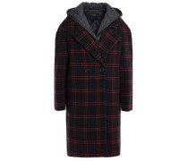 Double-breasted Layered Shell And Wool-blend Hooded Coat Black