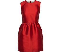 Woman Gathered Striped Satin-twill Mini Dress Red