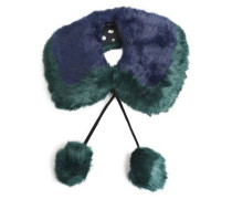 Pompom-embellished two-tone faux fur collar