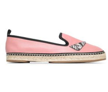 Appliquéd Leather Espadrilles Pink