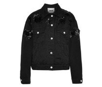Sequin-embellished Denim Jacket Black