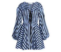 Lace-up striped cotton-jacquard mini dress