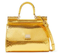 Sicily Mini Mirrored-python Shoulder Bag Gold Size --