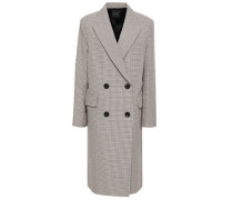 Woman Double-breasted Houndstooth Cotton And Wool-blend Coat Multicolor