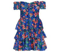 Helena Off-the-shoulder Tiered Floral-print Guipure Lace Mini Dress Blue