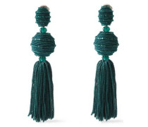 Tasseled Gold-tone, Cord And Bead Clip Earrings Emerald Size --