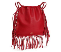 Fringed textured-leather backpack