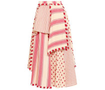 Layered Embroidered Striped Cotton-gauze Midi Skirt Red