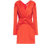 Ruched Satin-crepe Mini Dress