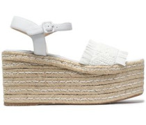 Fringed woven leather platorm sandals